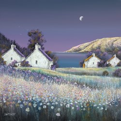 Silent Night by John Mckinstry - Glazed Original Painting on Stretched Canvas sized 30x30 inches. Available from Whitewall Galleries